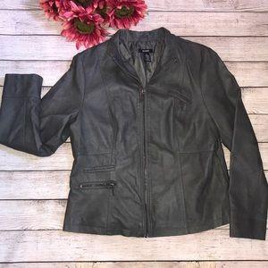 Alfani grey faux leather jacket size large